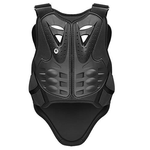 Pellor Plastron gilet moto cross armure protecteur le dos et la poitrine pour moto vélo ski (M)