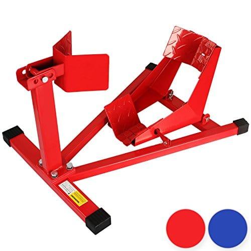 Timbertech – Béquille d'atelier pour roue avant – lève moto en acier – pour les pneus de 110 à 130 mm de large – COLORIS ET SET AU CHOIX