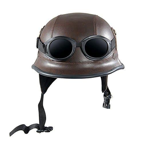 KKmoon Vintage Motorcycle Helmet avec Old Protection Style de Lunettes Shell Casque pour Scooter Vélo Marron