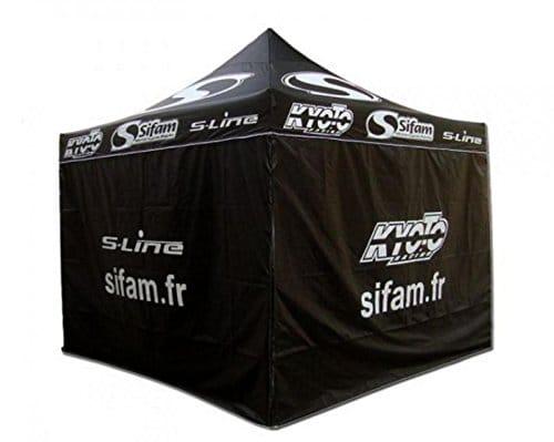 Tente publicitaire en Polyester noir Sifam, S Line et Kyoto 3x3x2m de haut Neuf