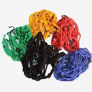 logas 40 x 40 cm pour casque moto arrière élastique Web Débardeur Filet Filet pour bagages Noir/jaune/rouge/bleu/vert