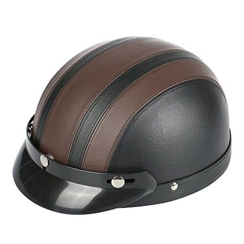 Frenshion Moto Vespa Casual Unisexe Vintage Adulte Eté Casque Semi-Ouvert Visière Hommes Femmes Adolescent Motif(001, brown)