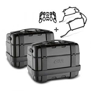 Paire de valises latérales Set Honda NC 750 S 16-17 Givi Monokey Trekker TRK46B avec revêtement en aluminium noir, kit adapteur inclu