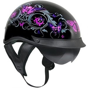 Outlaw T-72 Dual-Visor Glossy Motorcycle Half Helmet with Graphics of Flowers a – Medium by Outlaw
