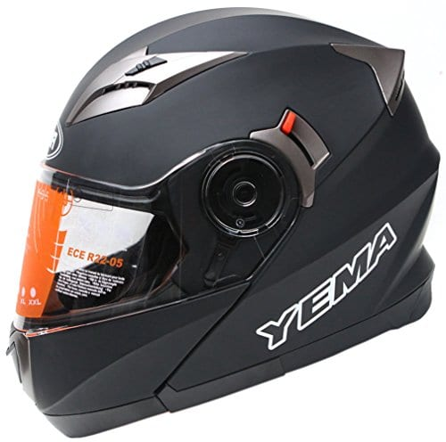 YEMA YM-925 Casque Modulable Moto Double Visière-Noir Mat-XL