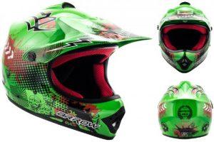 ARROW AKC-49 Green Cross Casque pour enfants Kids MX Helmet Enduro Sport Cross-Bike Junior Pocket-Bike Kids, DOT certifiés, compris le sac de casque, Vert, S (53-54cm)