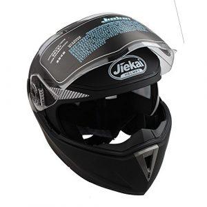 Casque Moto Modulable Double Visière Pare-soleil Casque Intégral Visière de Protection Noir (L 59-60cm)