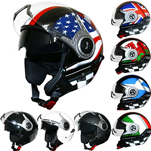 Leopard LEO-612 Double Pare-soleil Open Face Casque Scooter Moto Moto Etats-Unis XL (61-62cm)