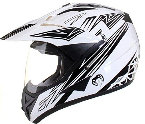 Qtech – Casque de moto/enduro/MX tout-terrain – idéal pour la route – Noir – M (57-58 cm)