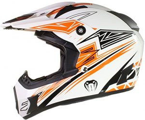 Qtech – Casque Viper de moto/enduro/MX tout-terrain – noir, rouge, orange et bleu – Orange – M (57-58 cm)