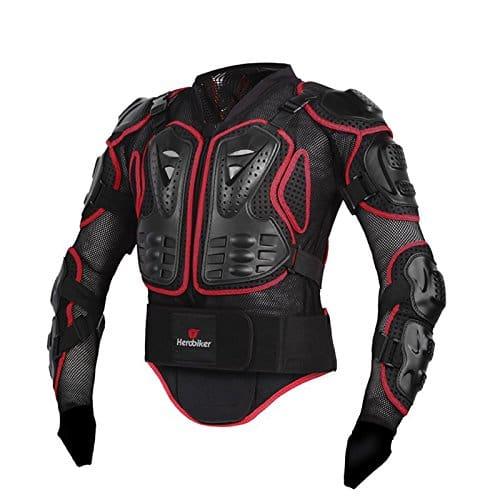 Zyurong Veste de protection pour moto, motocross, BMX, VTT, skate, snowboard – Protection de la colonne vertébrale – Rouge/noir