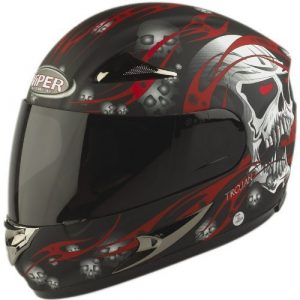 Viper RS-44 Trojan Skull Casque intégral de motard Rouge Rouge m