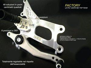 Dalles moto SCM utilisation piste et racing homologuées TUV en Ergal T6Factory pour Kawasaki ZX6-R 11/12