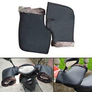 Gants Moto Hiver Guidon De Protection Épais Coupe-Vent Imperméable Thermique Chaude Grande Bouche pour Moto Scooter Noir par sweetlife