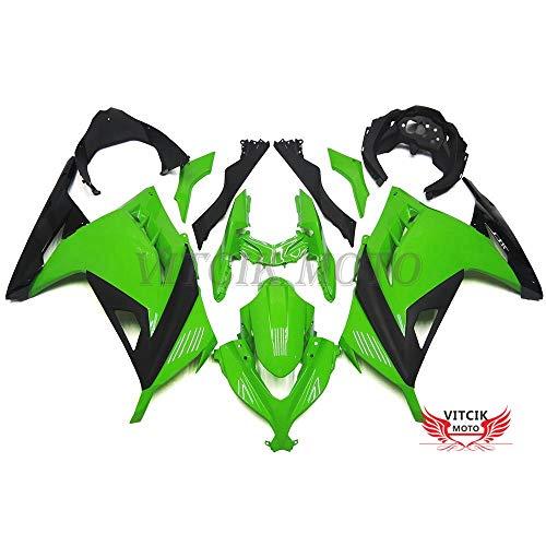 VITCIK (Kits de Carénage fixation Kawasaki EX300R Ninja 300 ZX300R 2013 2014 EX300R 300 ZX300R 13 14) Moule pour injection de plastique ABS Parties cycle de motos complètes Pièces détachées de Cadres du marché des pièces détachées Accessoires(Vert & Noir) A022