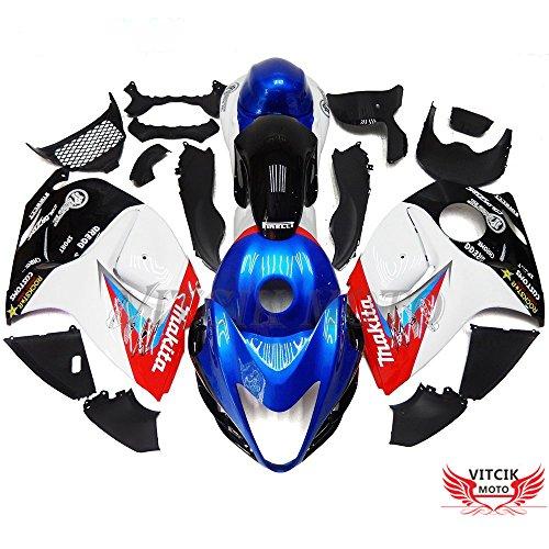 VITCIK (Kits de Carénage fixation Suzuki GSXR1300 GSX-R 1300 GSXR- 1300 Hayabusa 2008 – 2015) Moule pour injection de plastique ABS Parties cycle de motos complètes Pièces détachées de Cadres du marché des pièces détachées Accessoires(Bleu & Blanc) A042