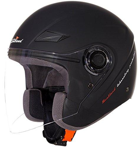 Scotland Casque de Moto/Scooter Force 03 avec Longue Visiere, Unisex, Noir Mat, 61-62 (XL)